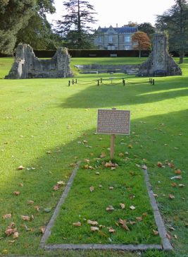 Rectangle marked out on grass with sign