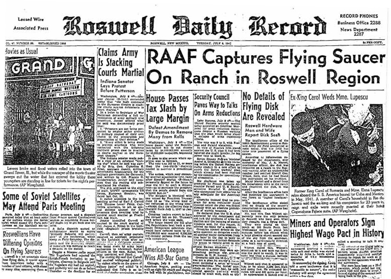 Front page of newspaper with headline about flying saucer