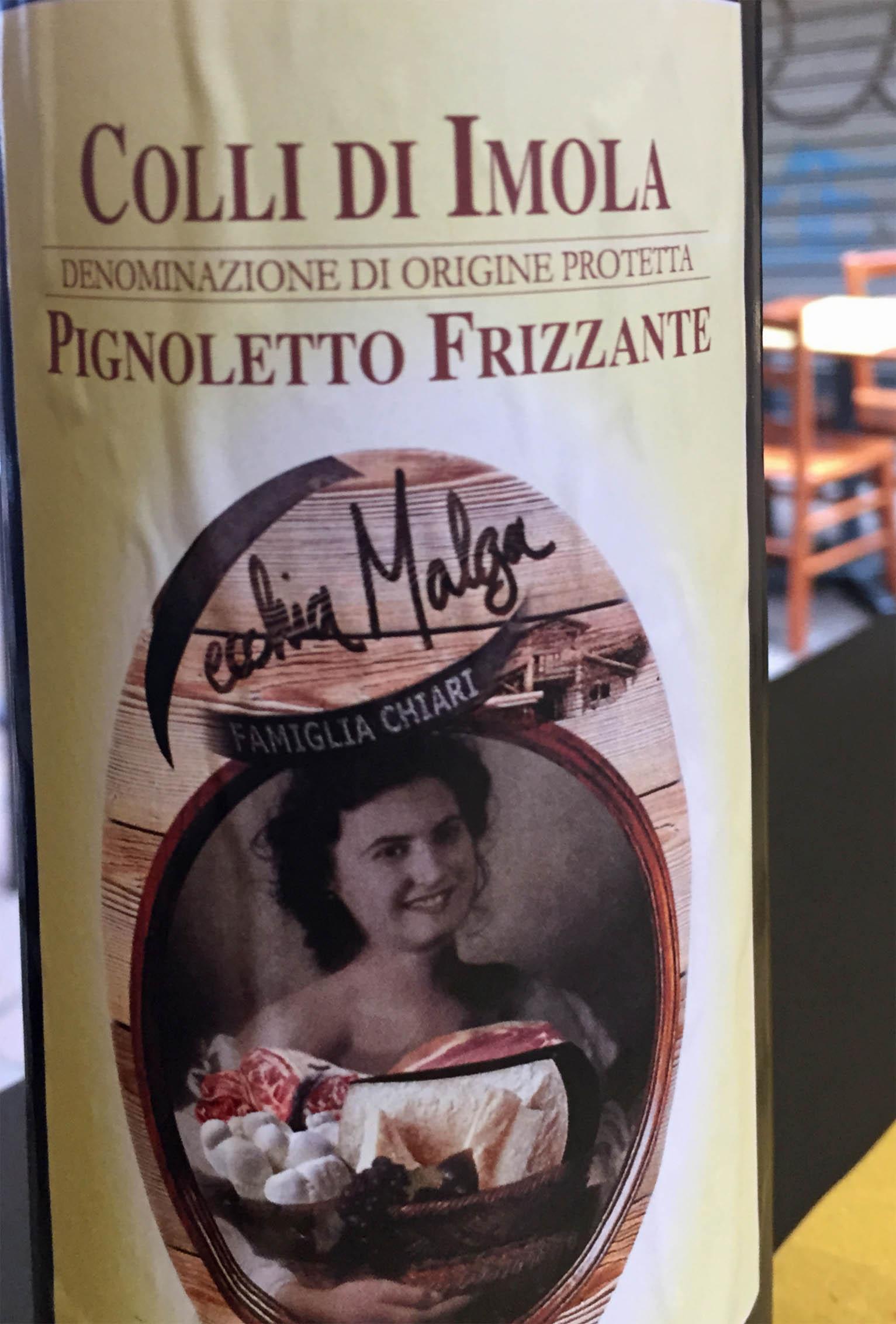 Label on wine bottle