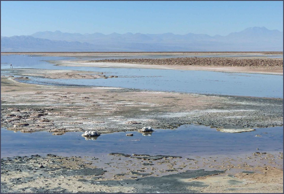 Landscape with water, salt flats and mountains