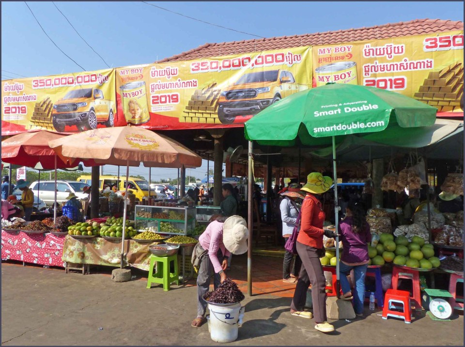 Market with colourful awnings