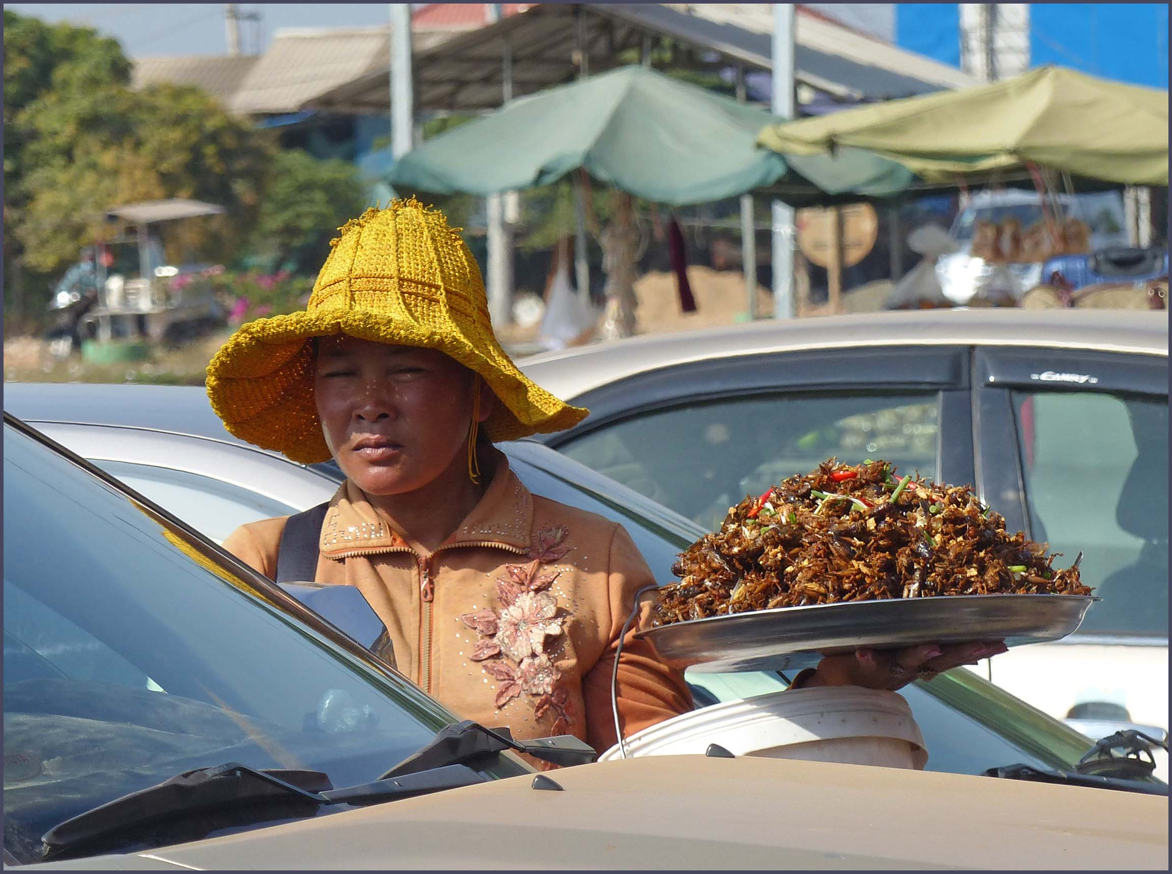 Lady in yellow hat with plate of fried insects in a car park