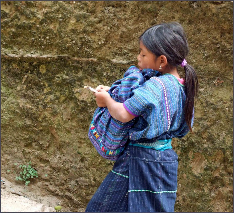 Girl in traditional blue clothing