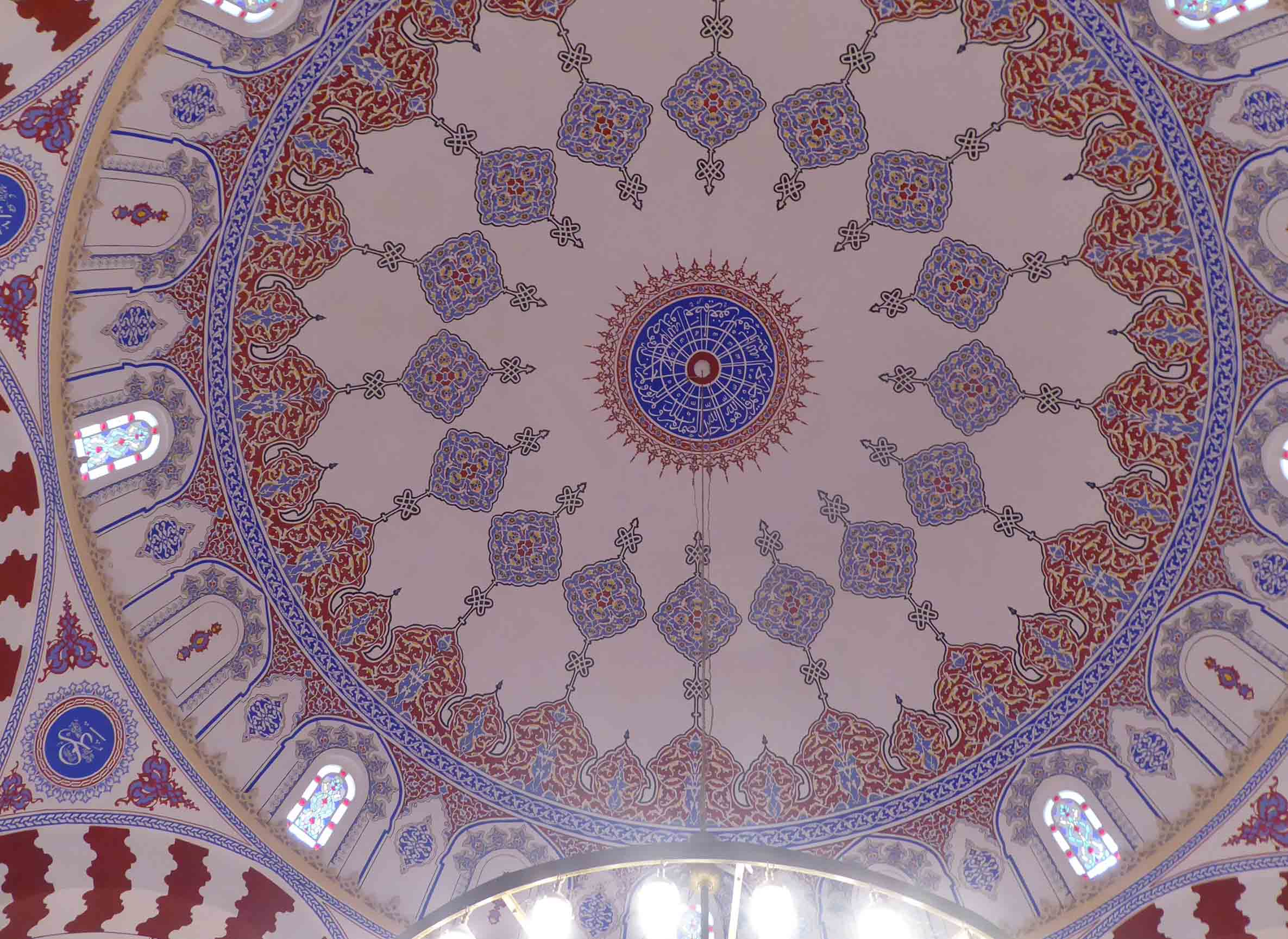 White dome decorated in blue and brown
