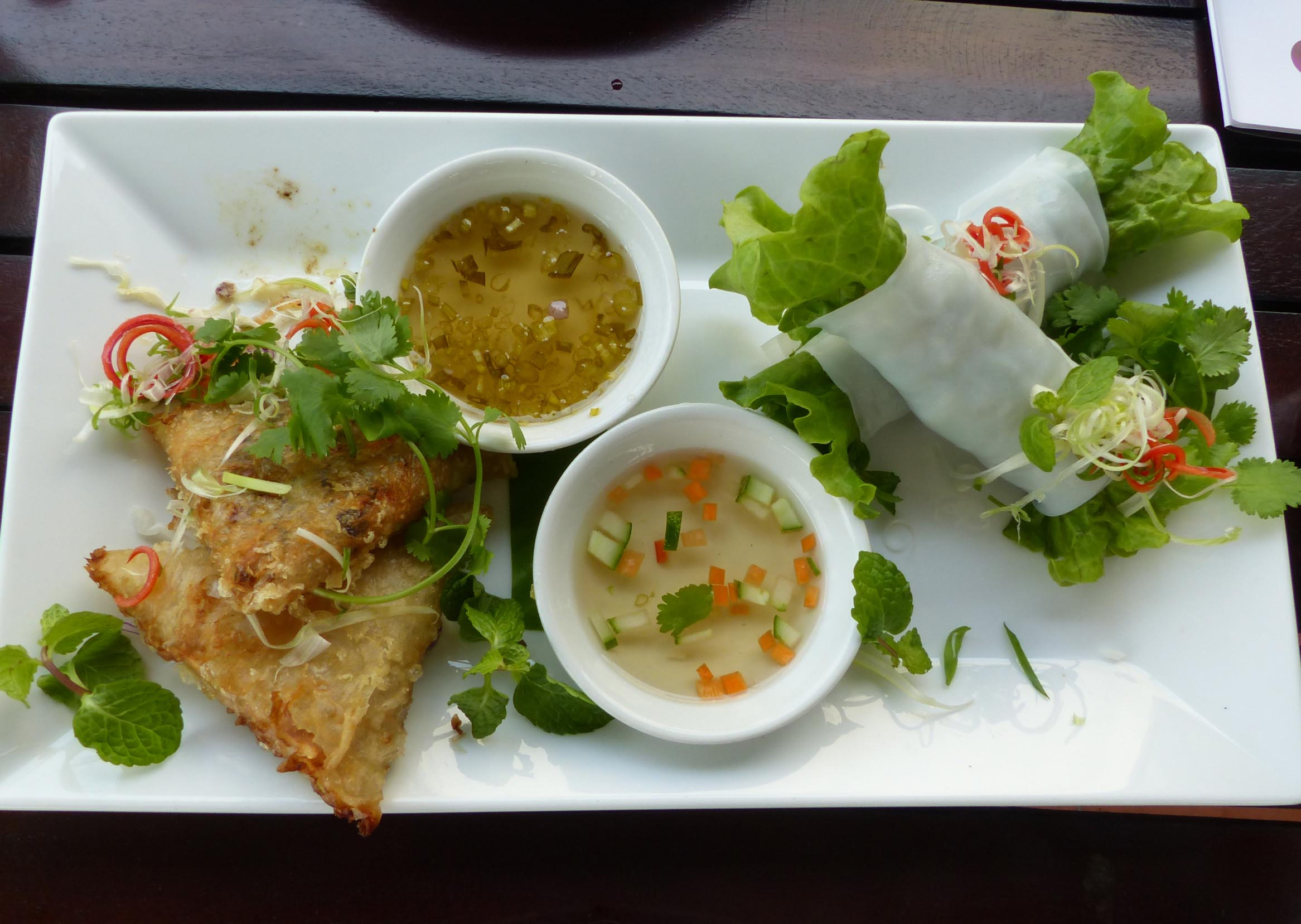 Spring rolls and dips