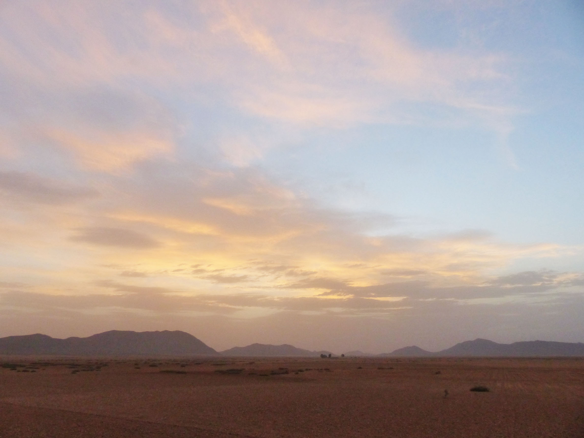 Desert view with early sun