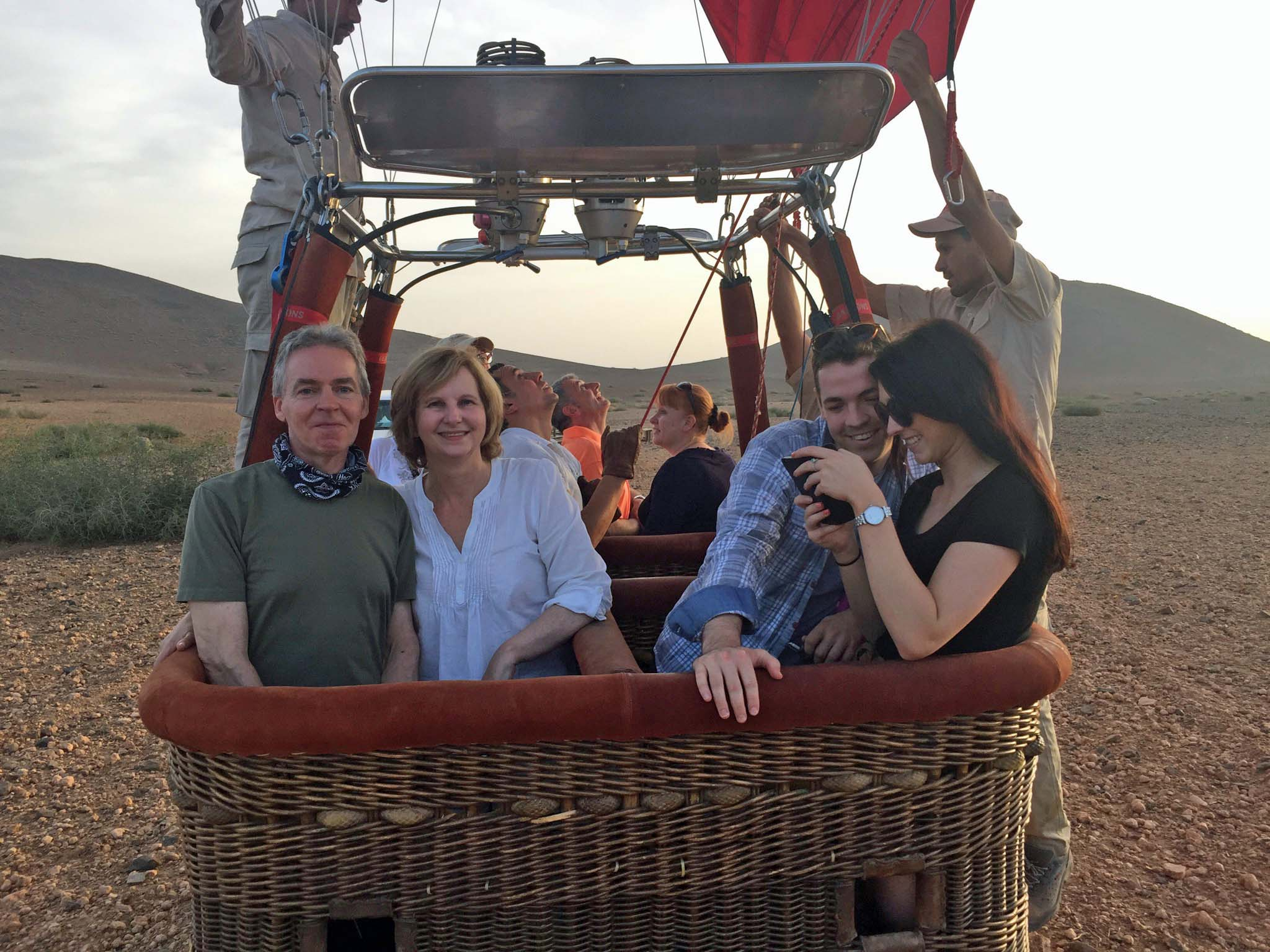 People in a balloon basket