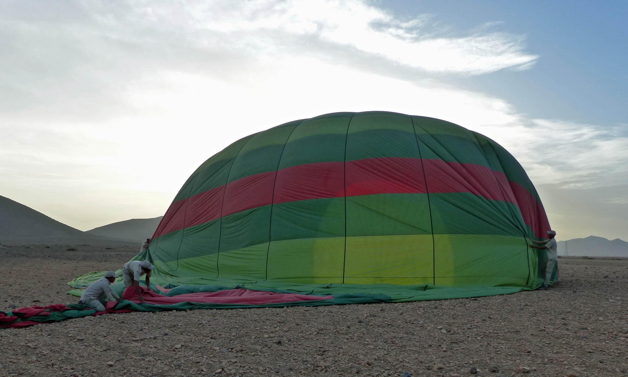 Partly deflated hot air balloon