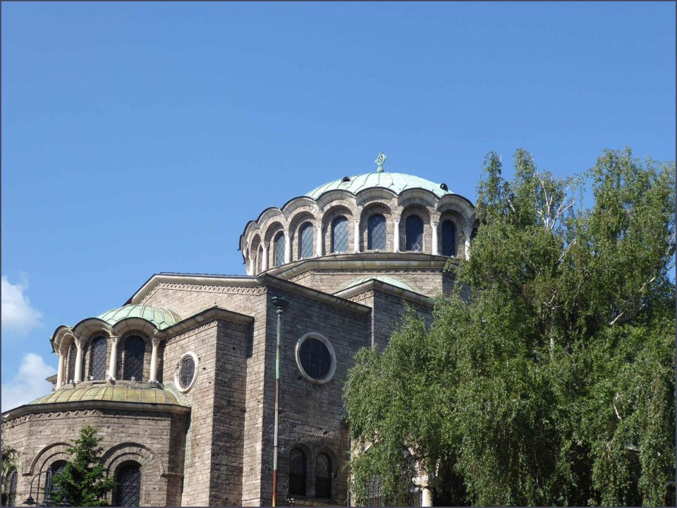 Orthodox church with pale green dome
