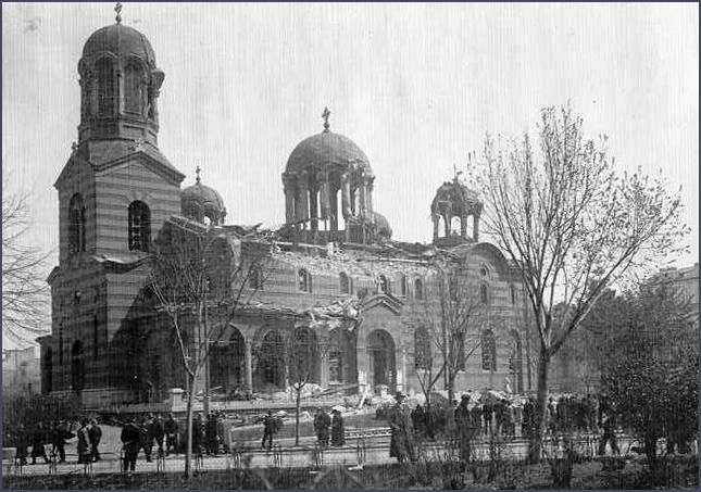Black and white photo of damaged church