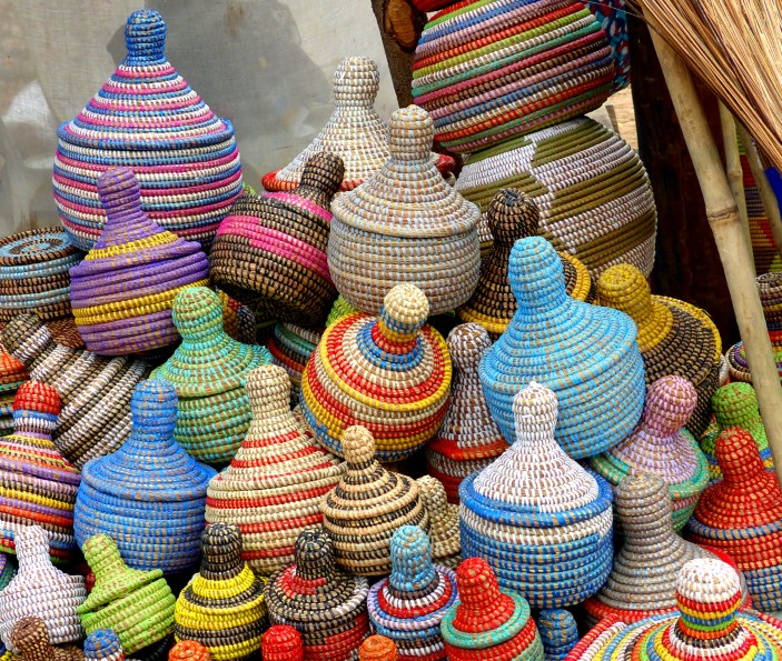 Colourful small baskets with lids