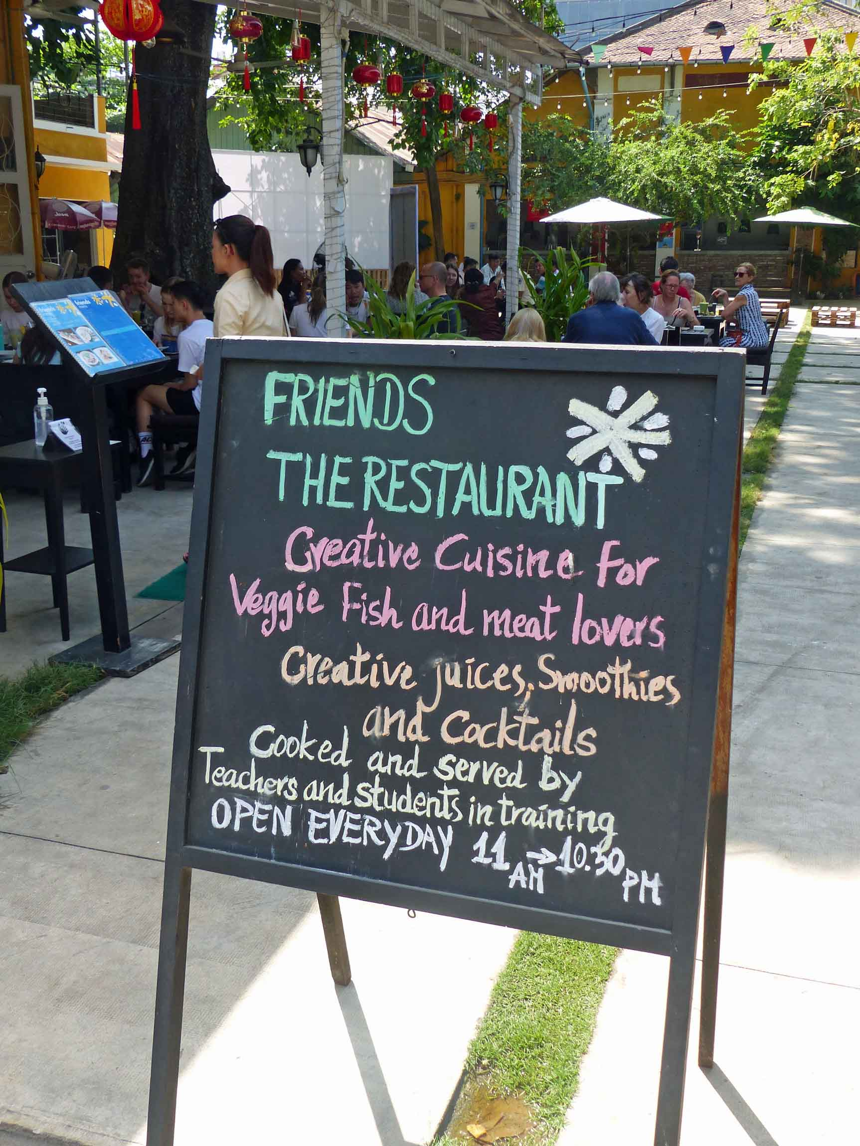 Blackboard sign outside a restaurant