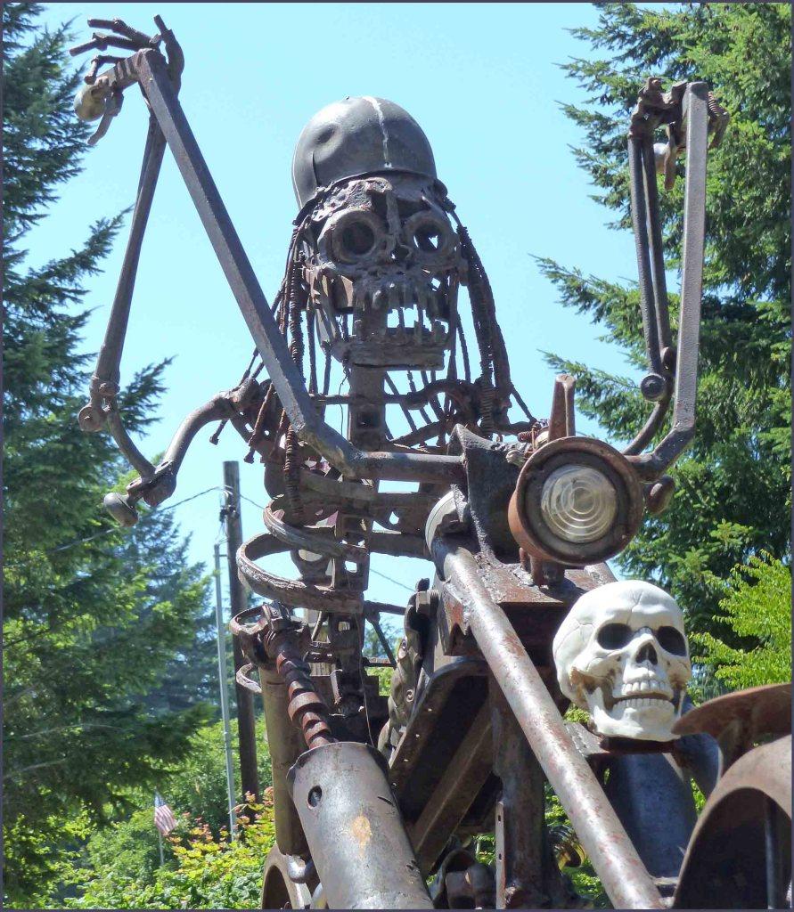 Skeleton on motorbike created from scrap iron etc