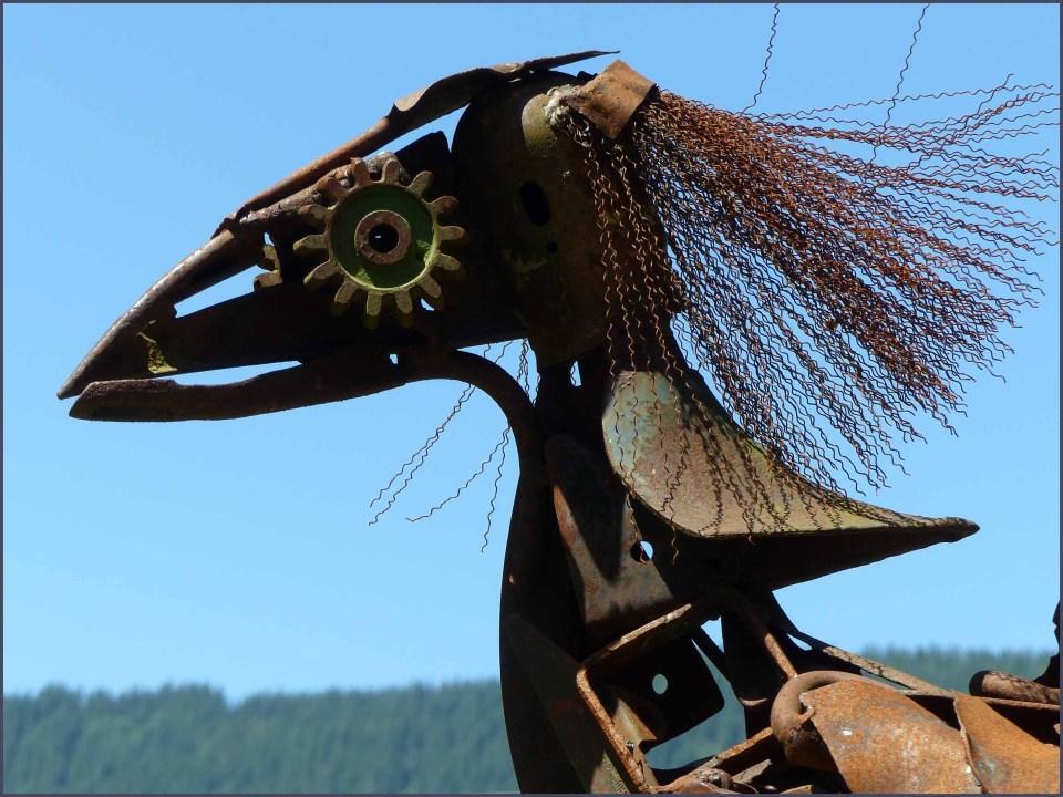 Horse created from scrap iron etc
