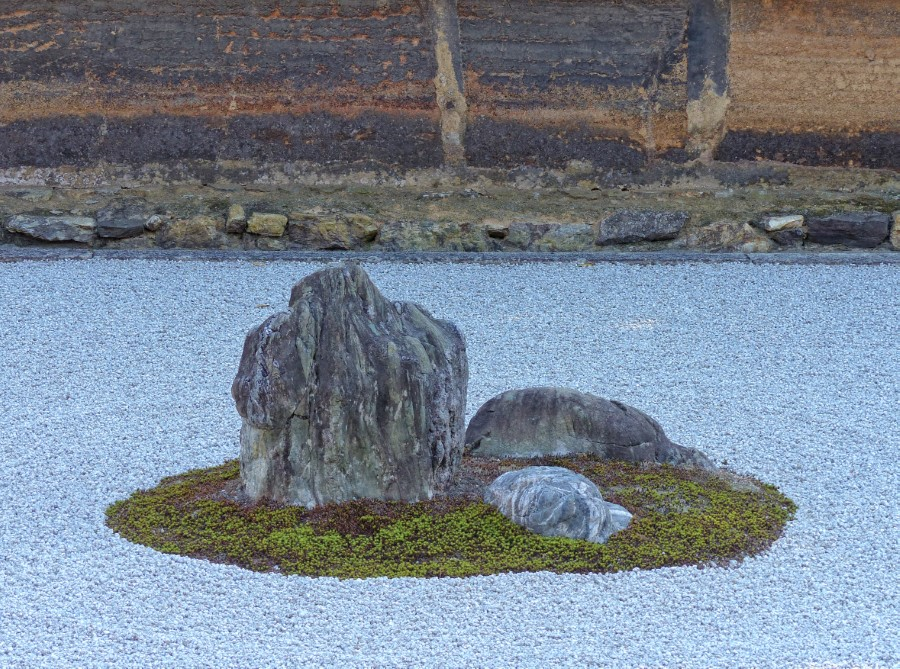 Arrangement of rocks and raked gravel