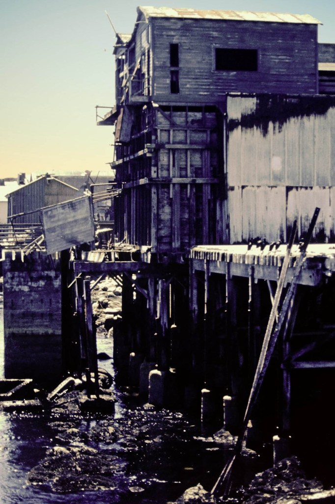 Tumbledown wooden buildings on a jetty