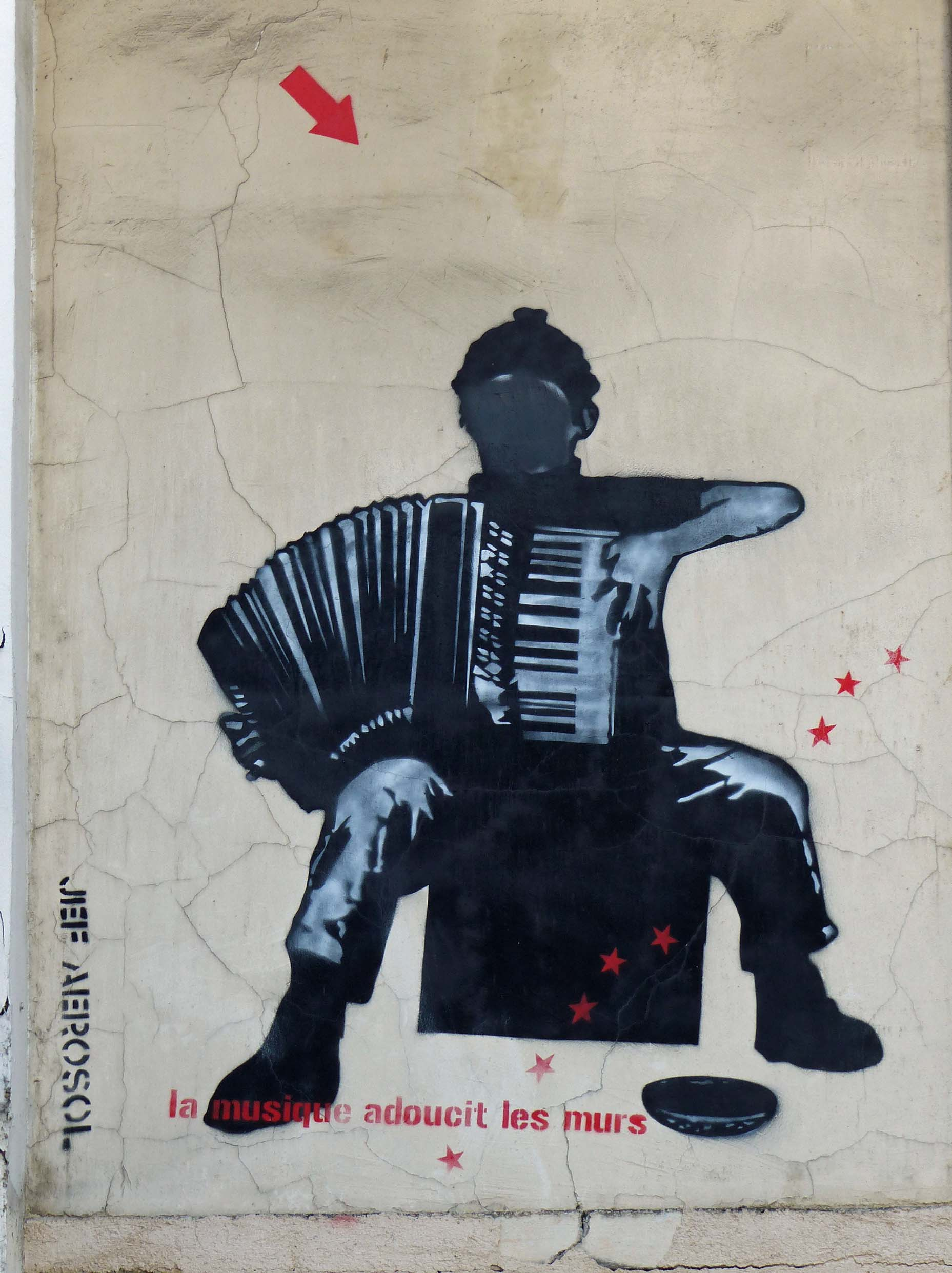 Painting of an accordion player with a blank face