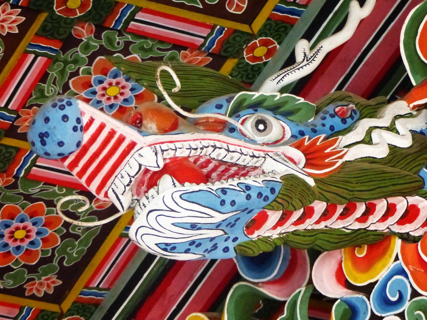 Ornate oriental wooden ceiling