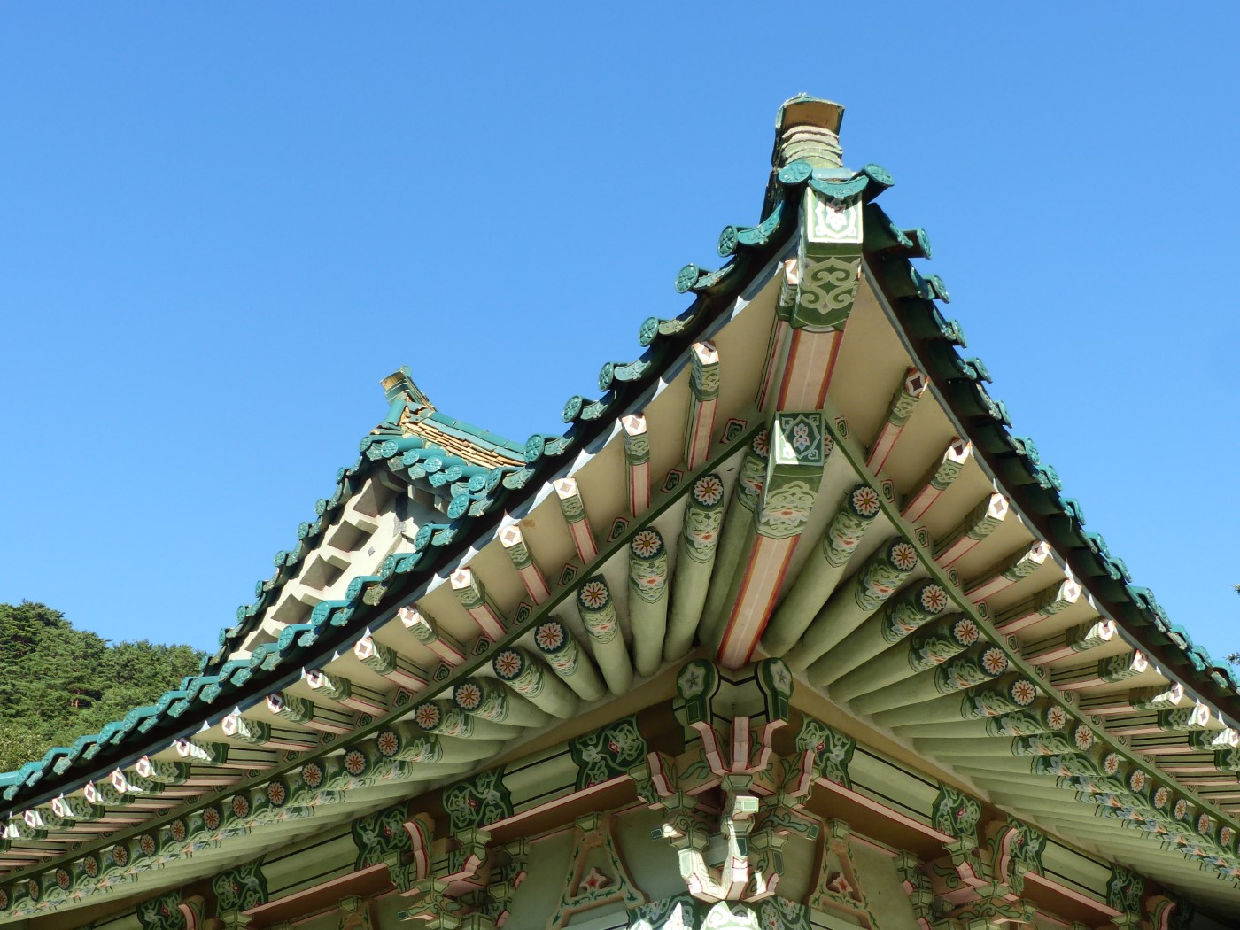 Temple roof against a blue sky