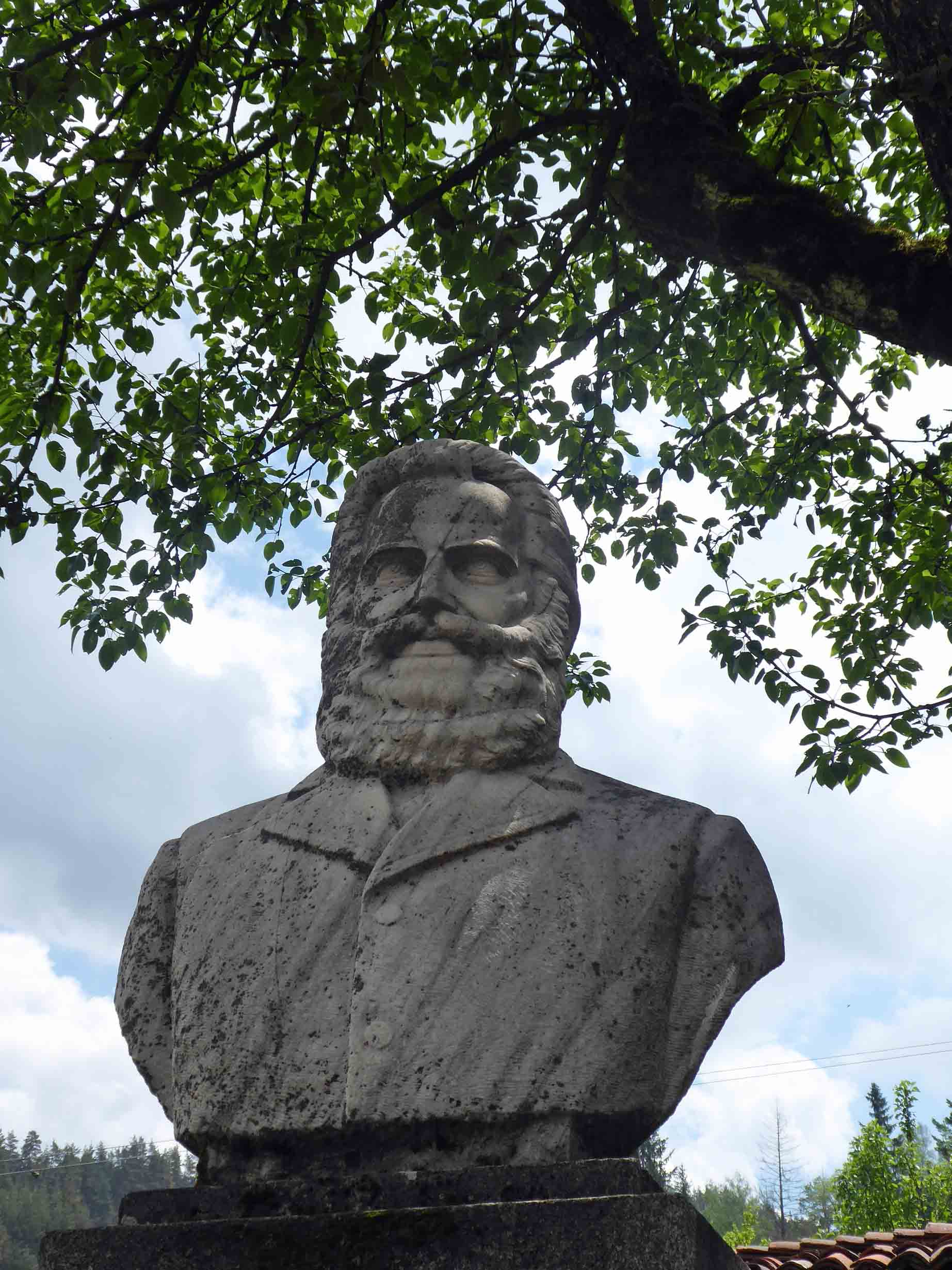 Stone bust of bearded man