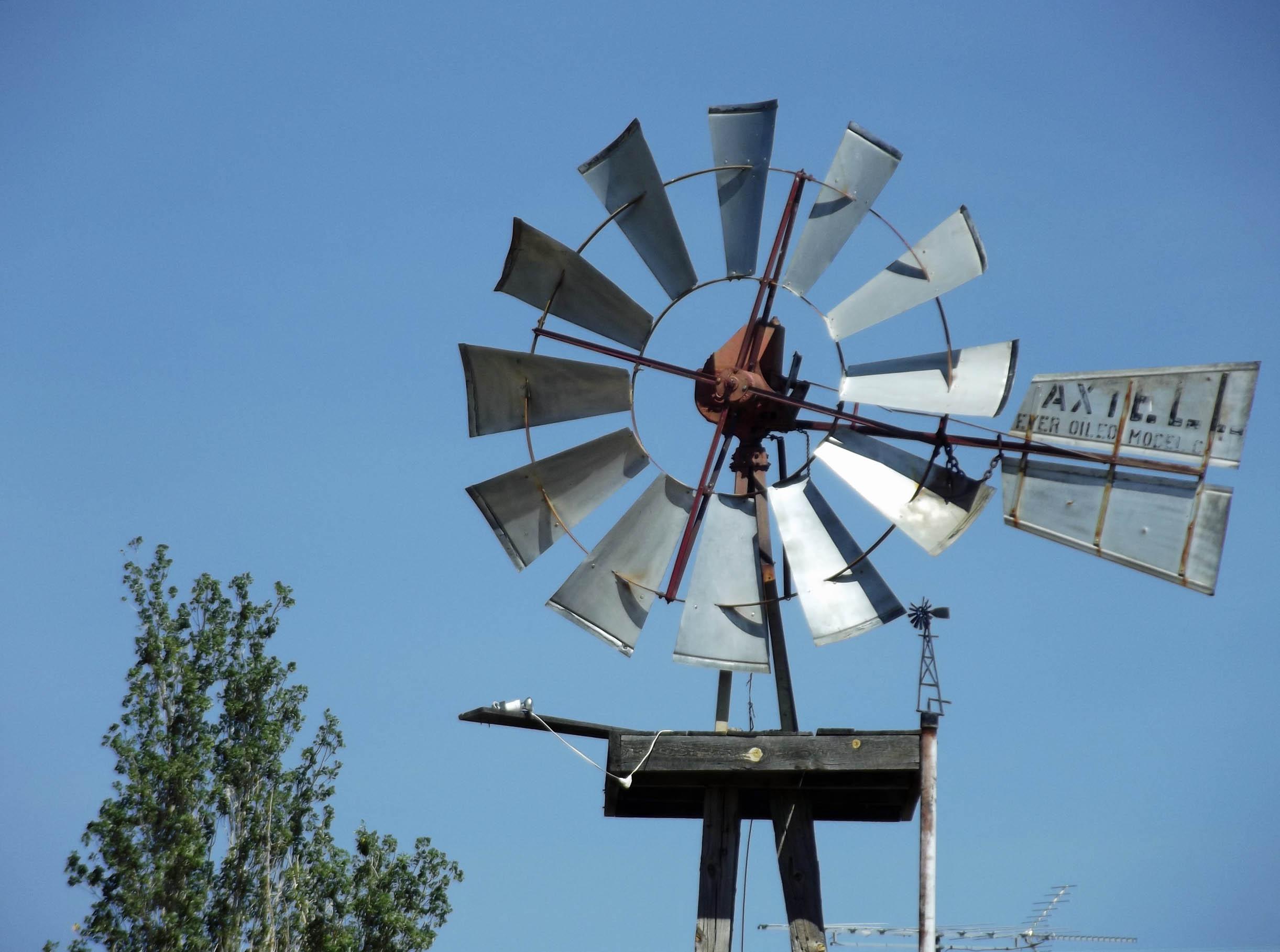 Silver-coloured wind pump