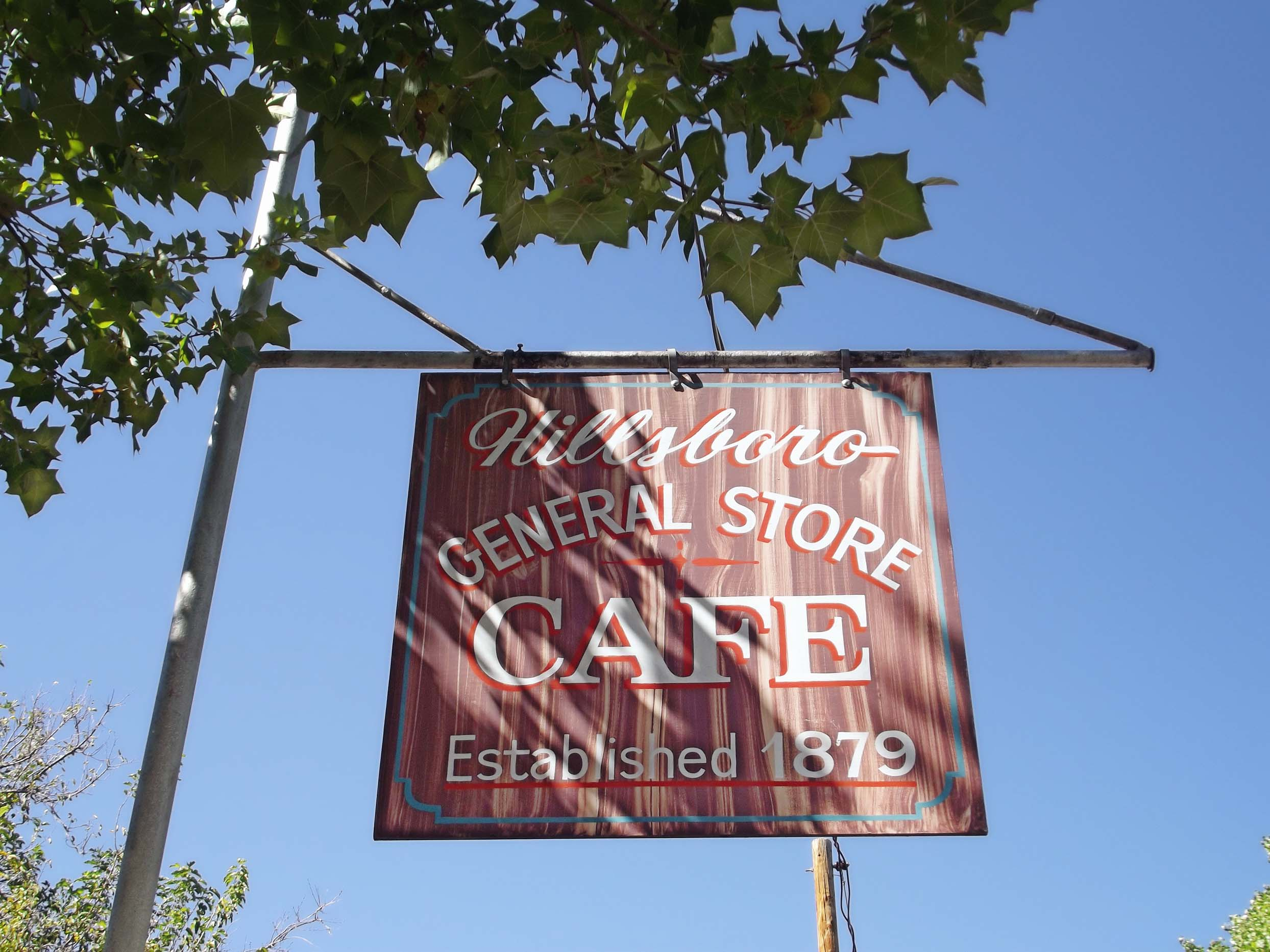 Sign advertising general store and cafe
