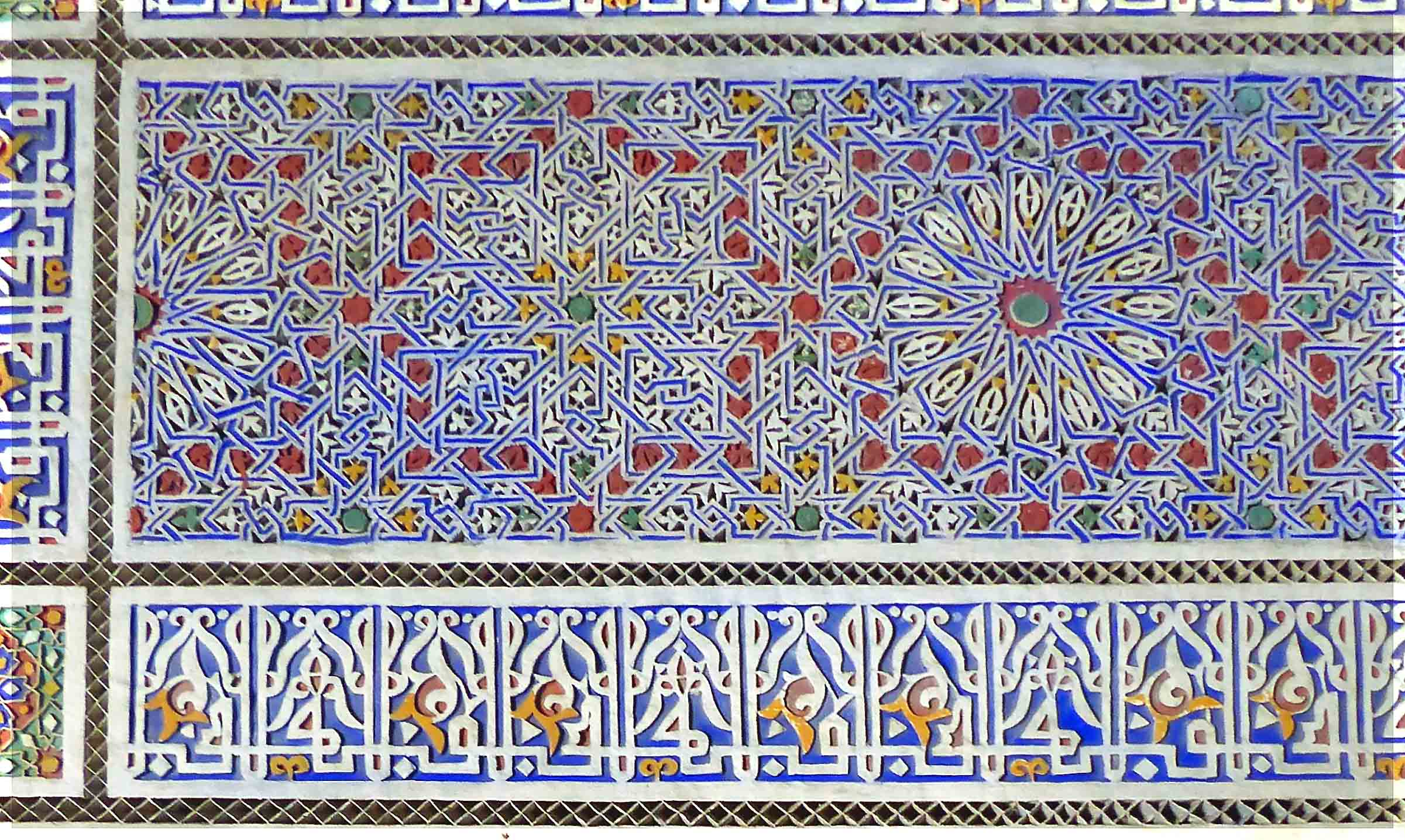 Decorative tiles in blue, red, green and white