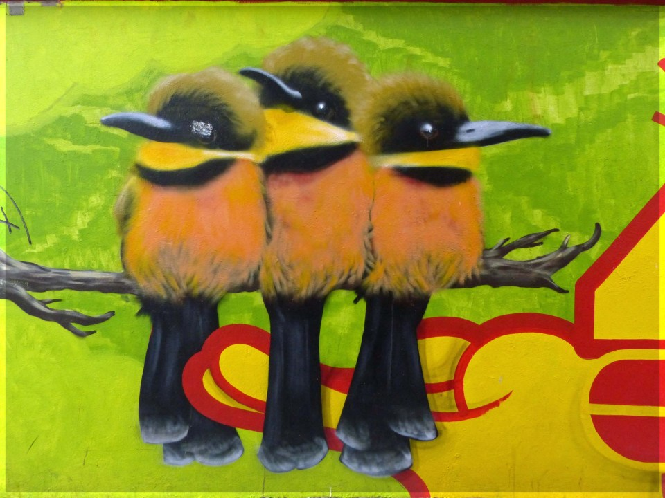 Mural of three bright yellow birds on a branch