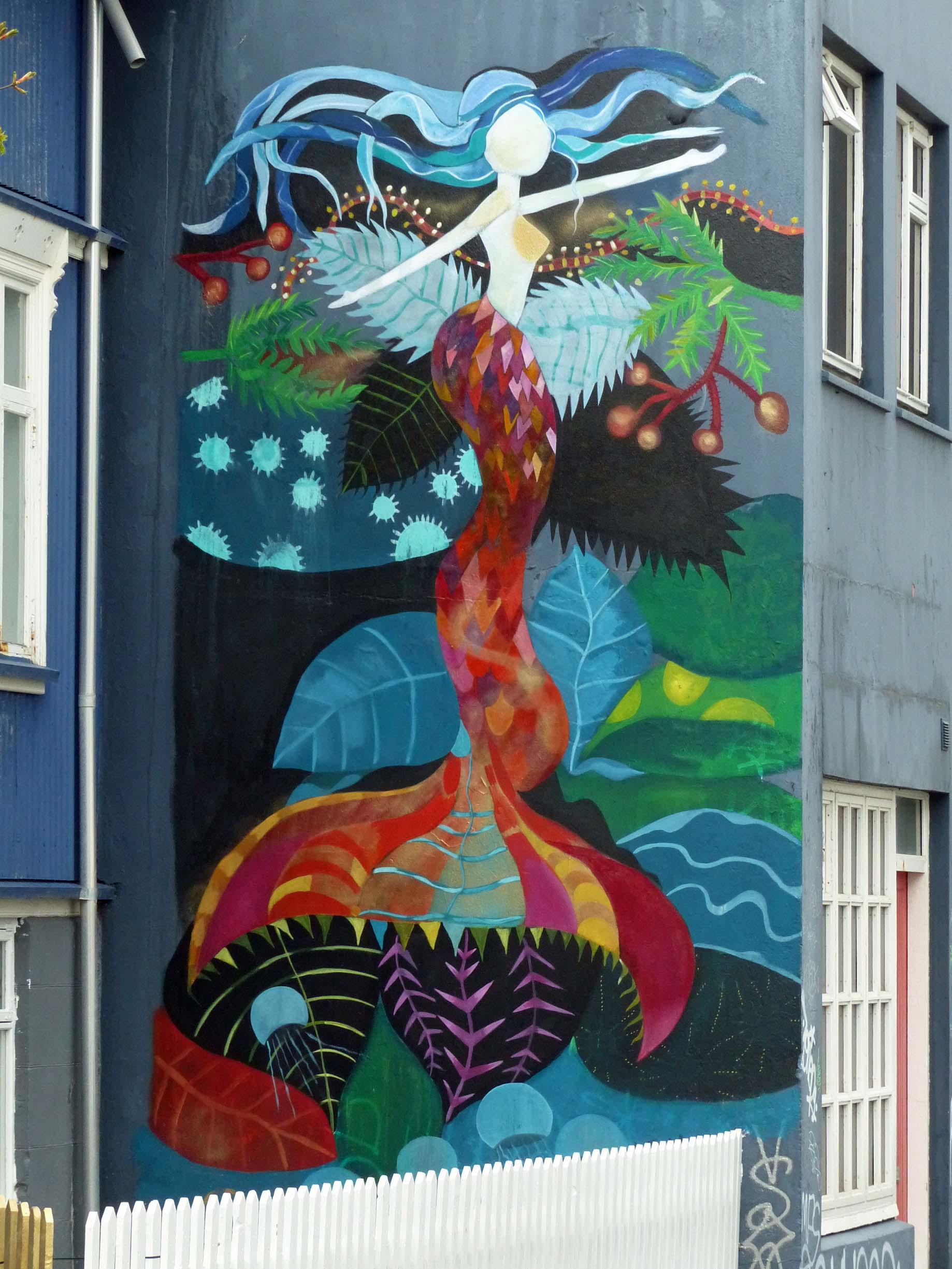 Large mural of a mermaid