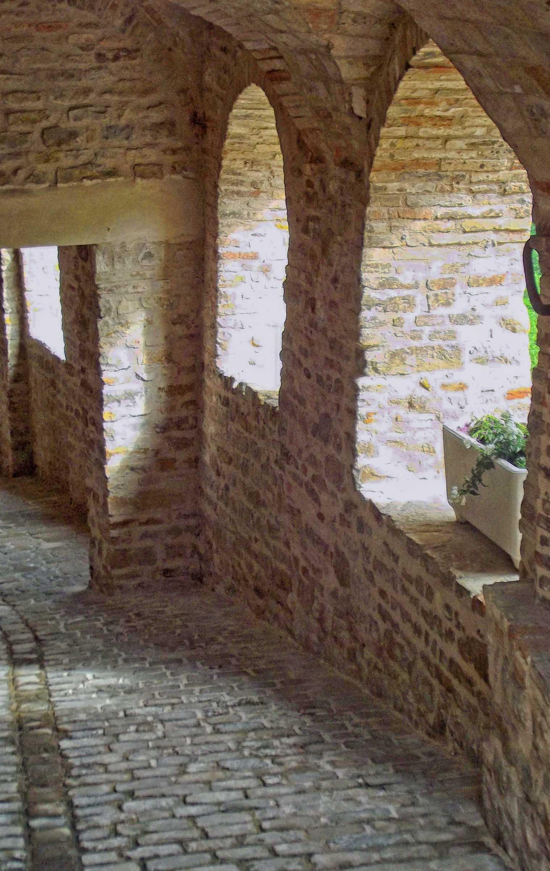 Stone path between stone walls