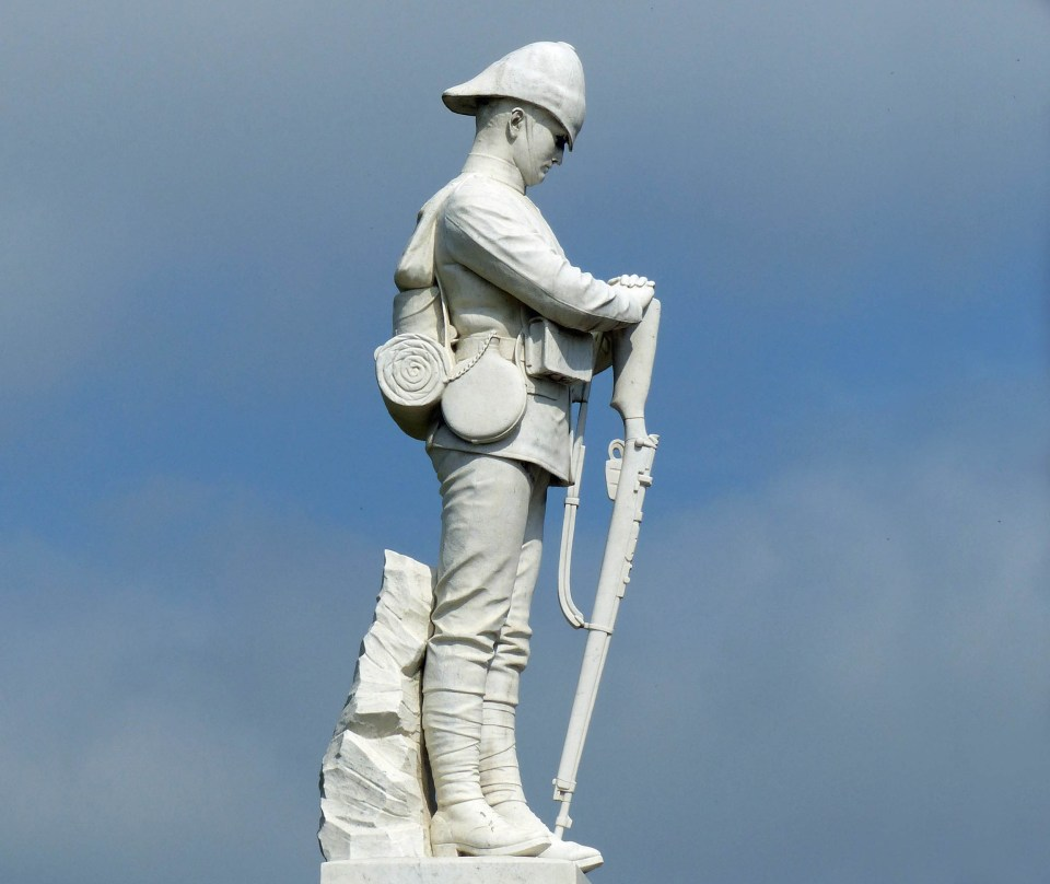 Statue of a soldier in white marble