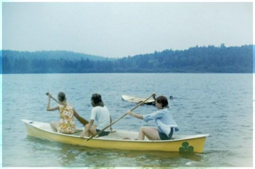 Three girls in a kayak