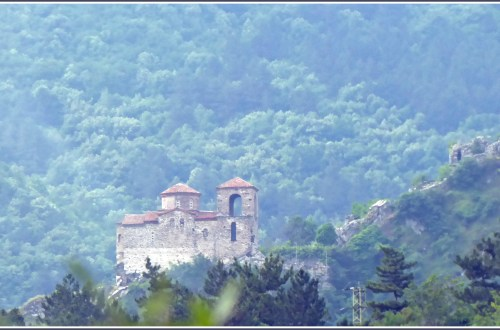 Small church on a wooded mountainside