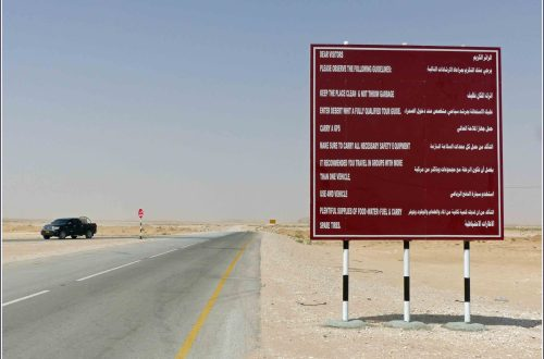 Straight road and brown sign in English and Arabic