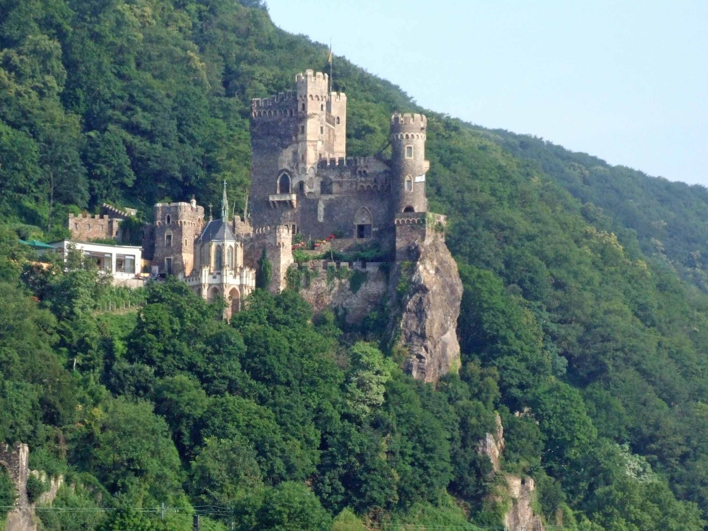 Large castle on a wooded hillside