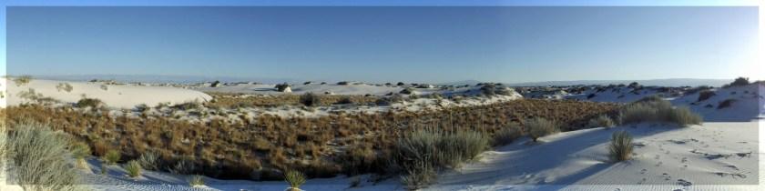 Panoramic shot of white sand dunes