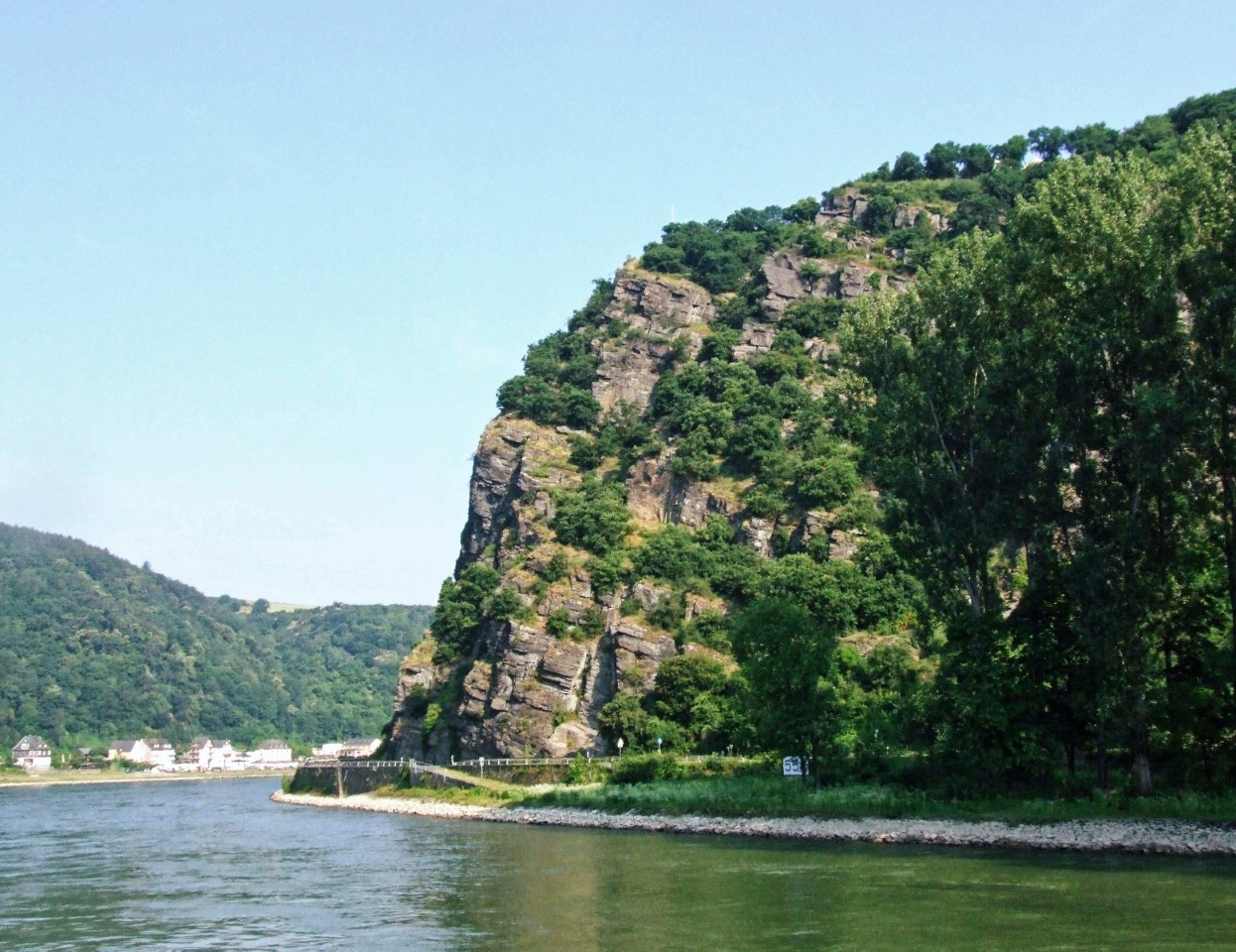 Bend in a river with rocky cliff