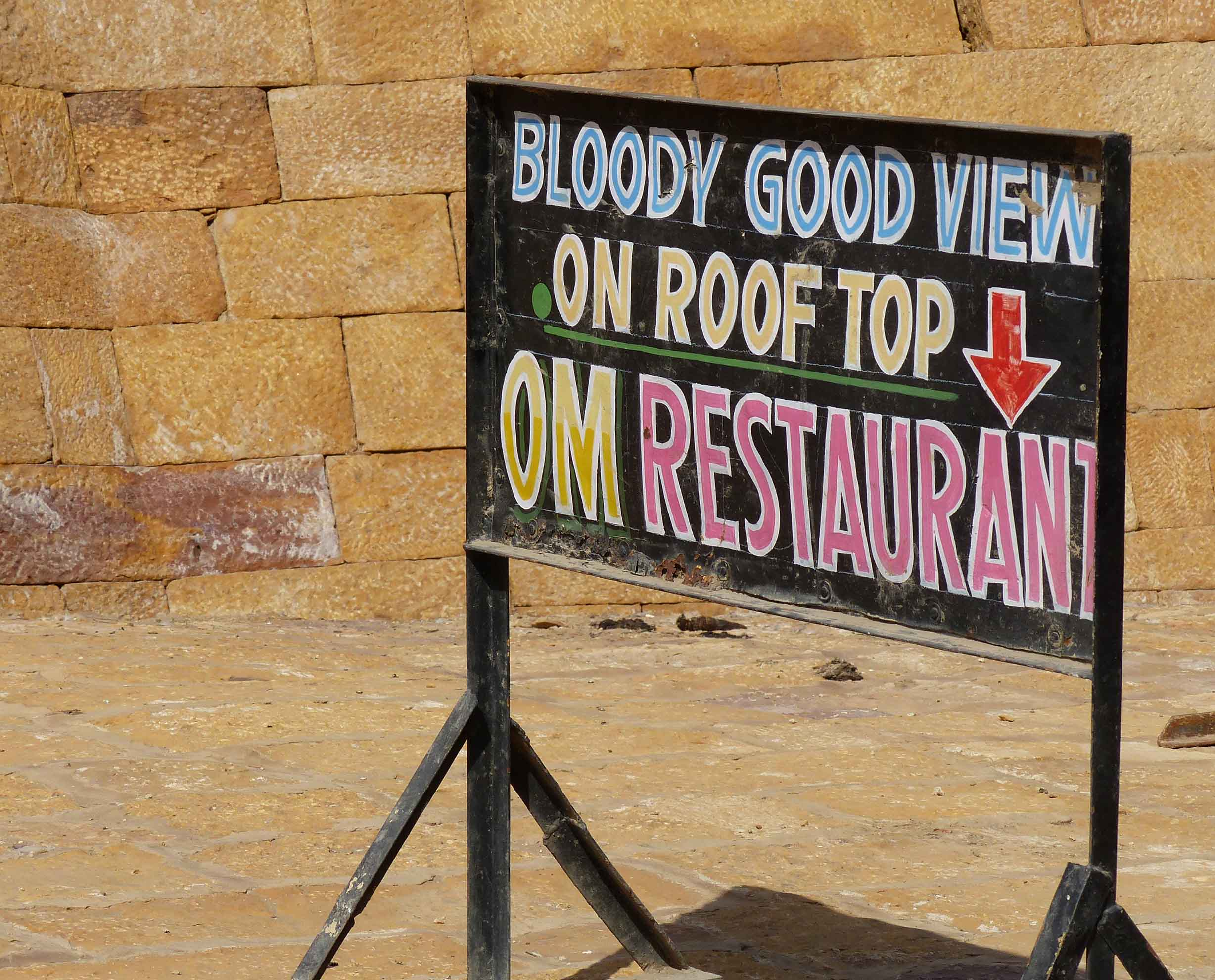 Sign advertising roof top view