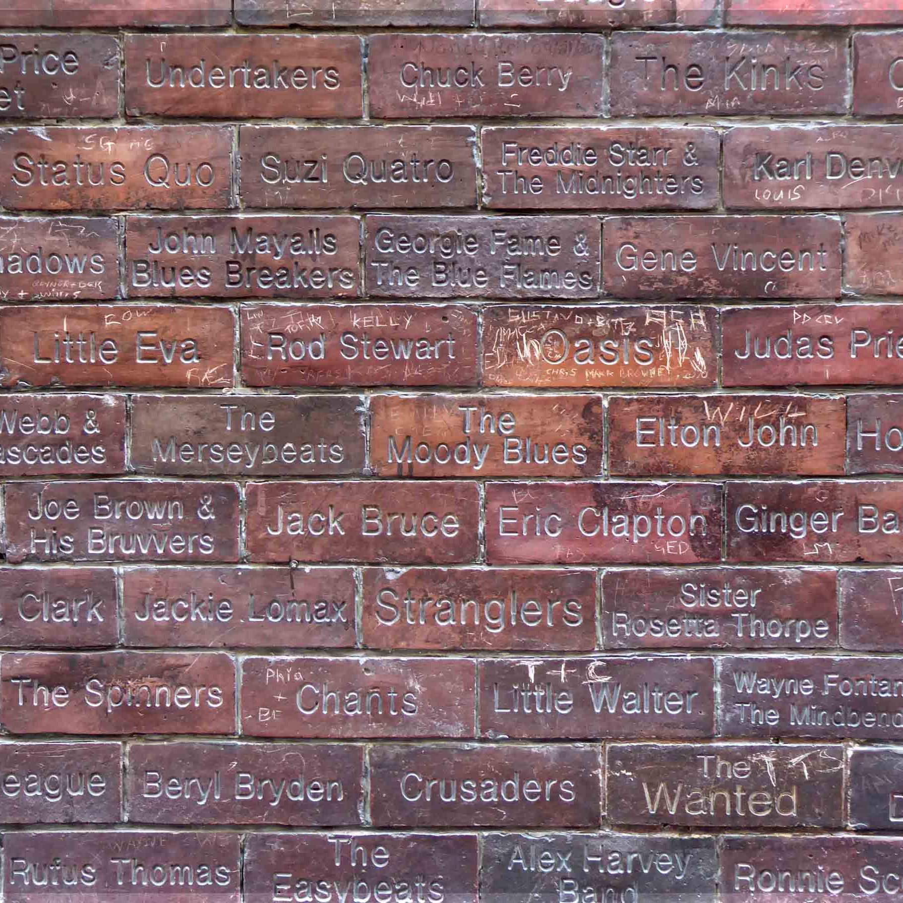 Bricks with names of rock stars engraved