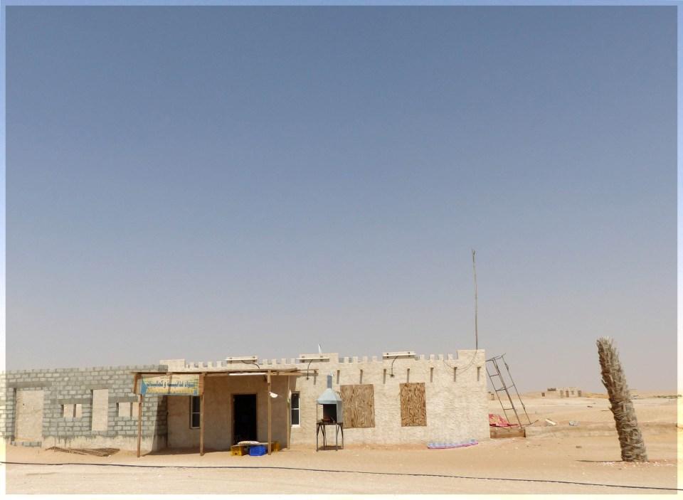 Low simple building in desert