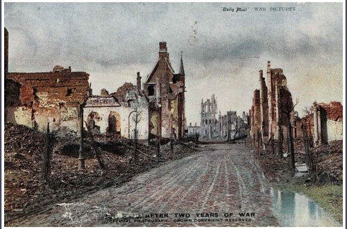 Old postcard of bombed town