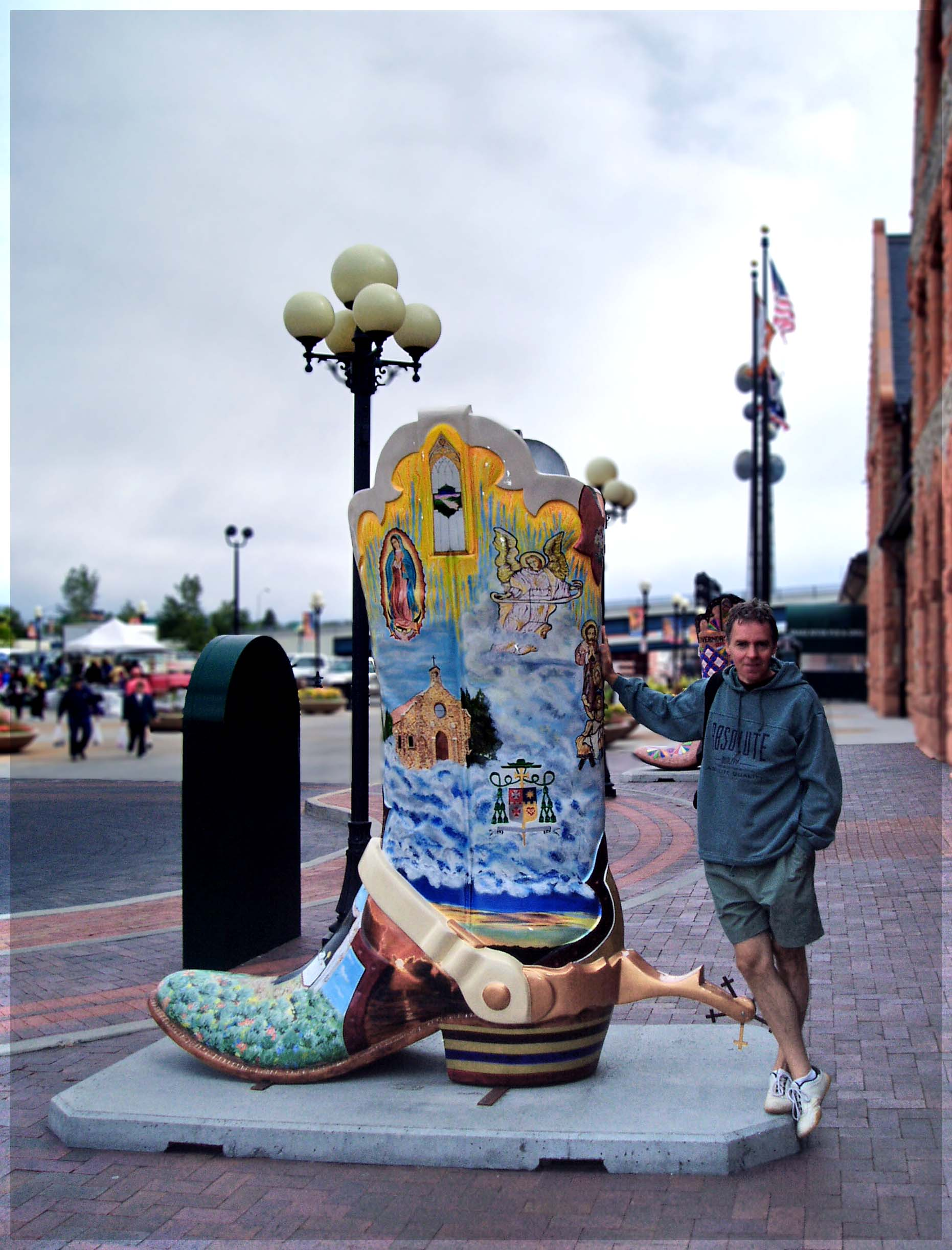 Huge painted model of a cowboy boot