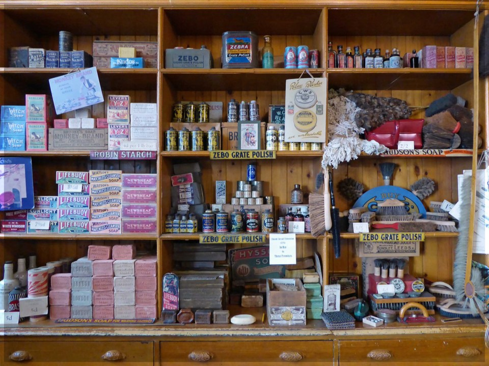 Display of old-fashioned household cleaning products