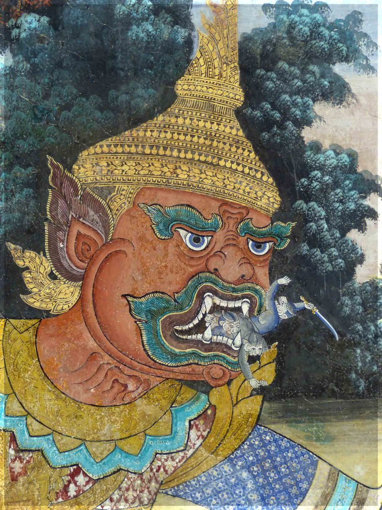 Painting of a fierce giant with people in his mouth