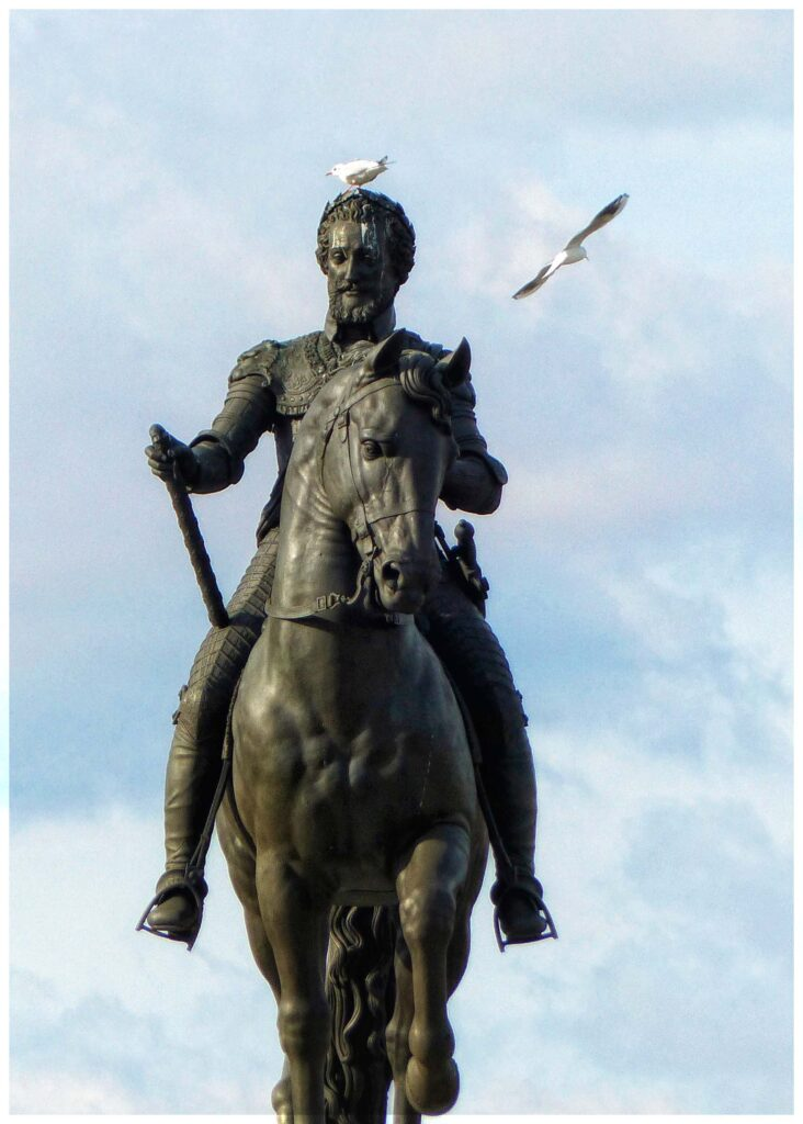 Statue of a man on a horse with a seagull on his head