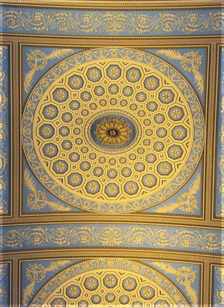 Ornate blue and gold ceiling