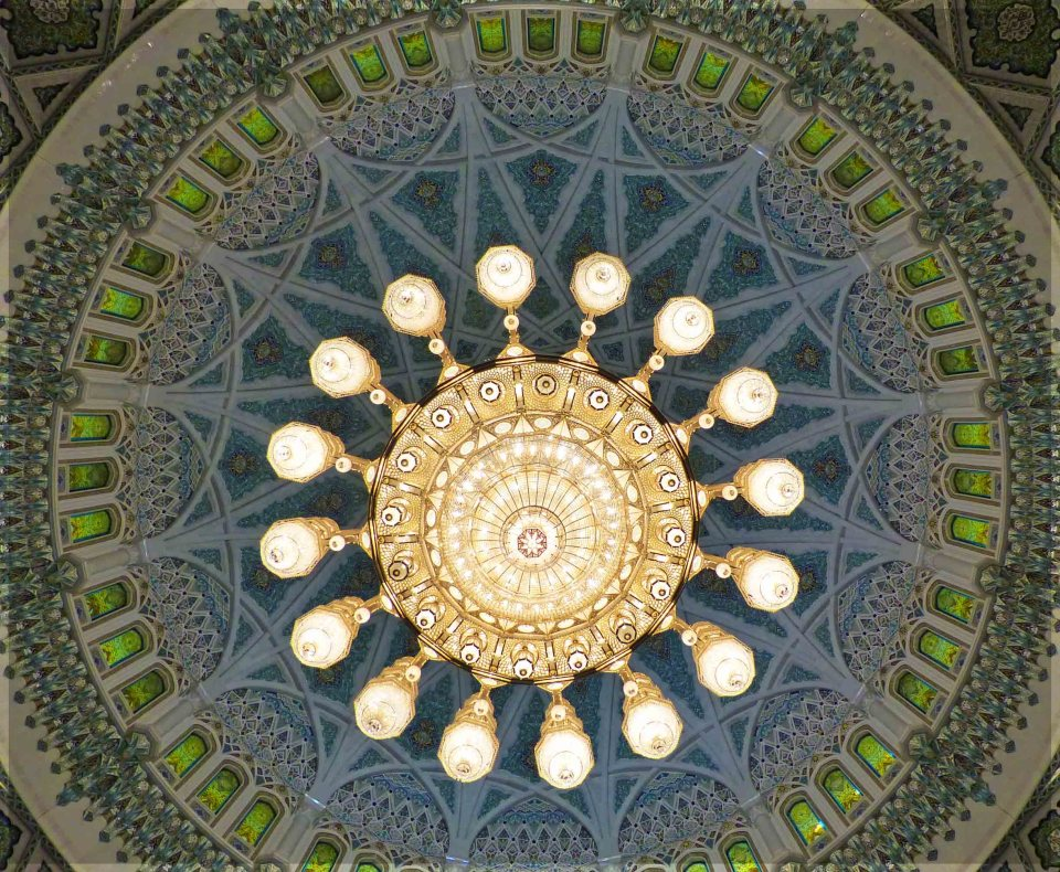 Looking up at ornate chandelier and painted dome