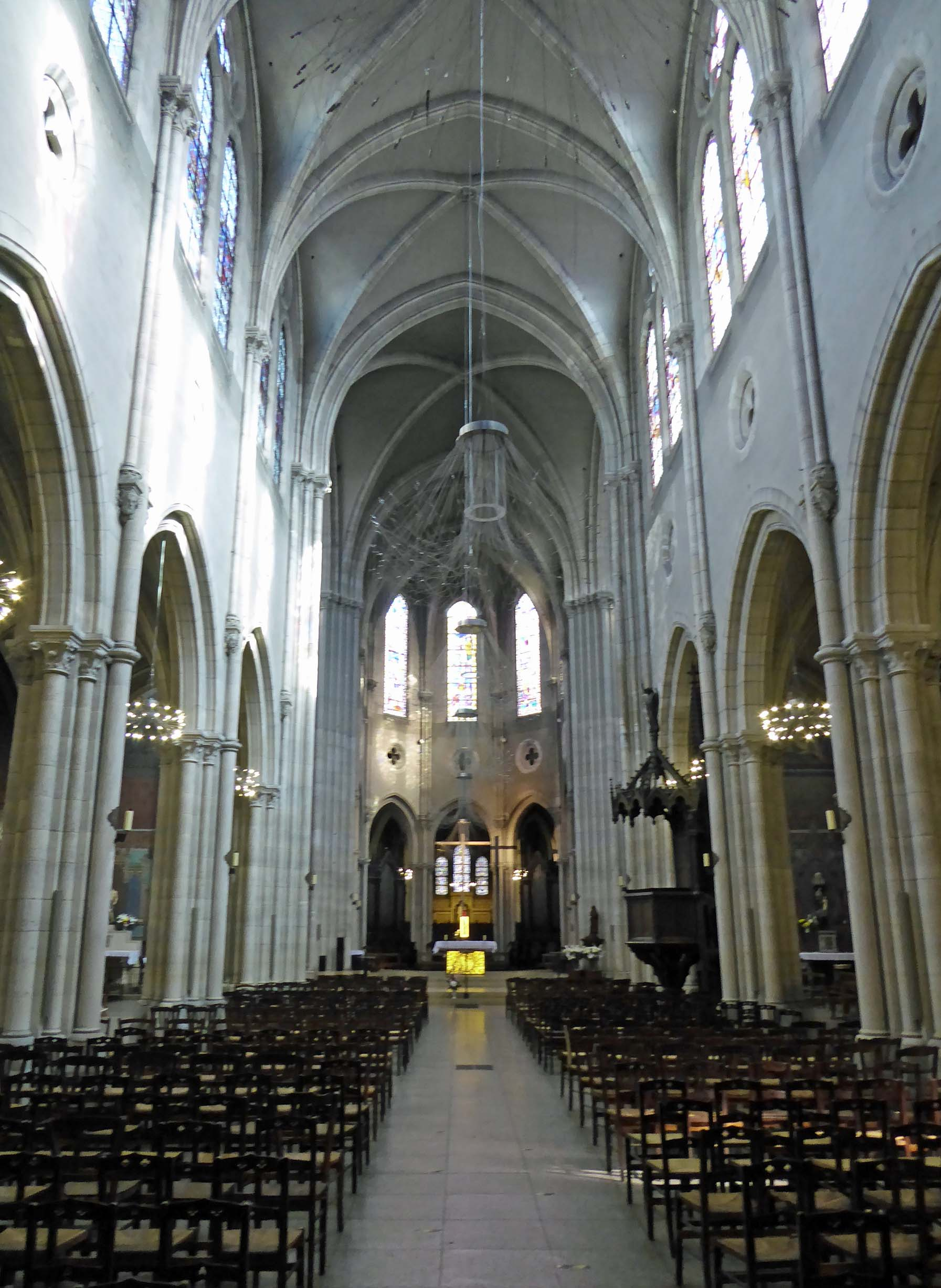 Looking the length of a church nave towards the altar