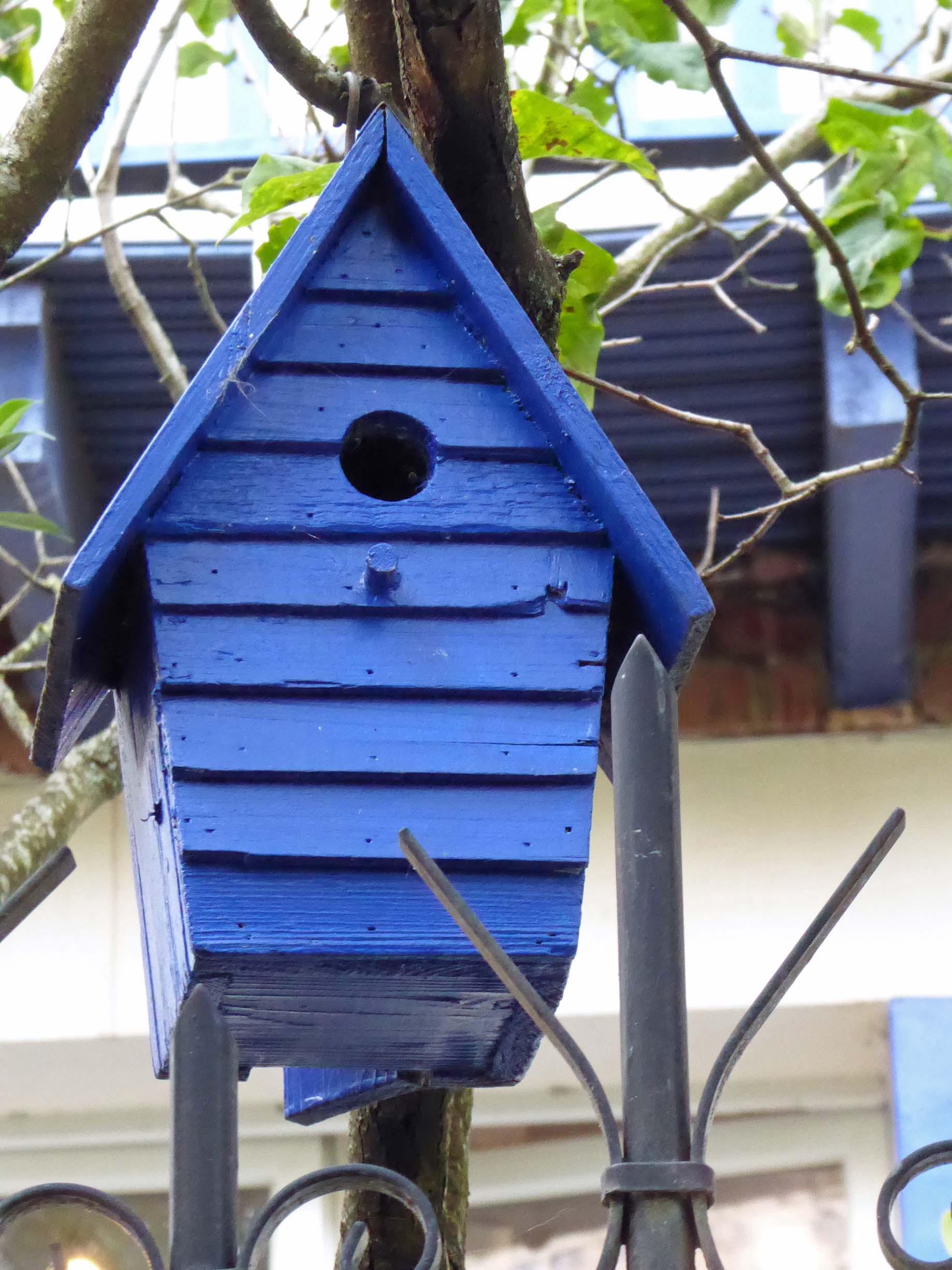 Bright blue bird house