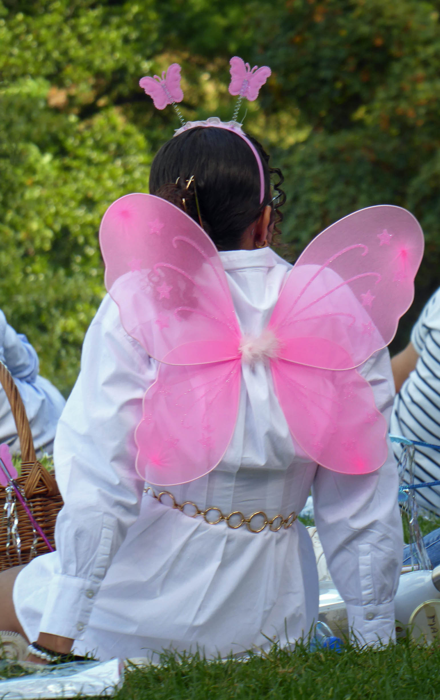 Young girl with pink butterfly wings, photographed from behind